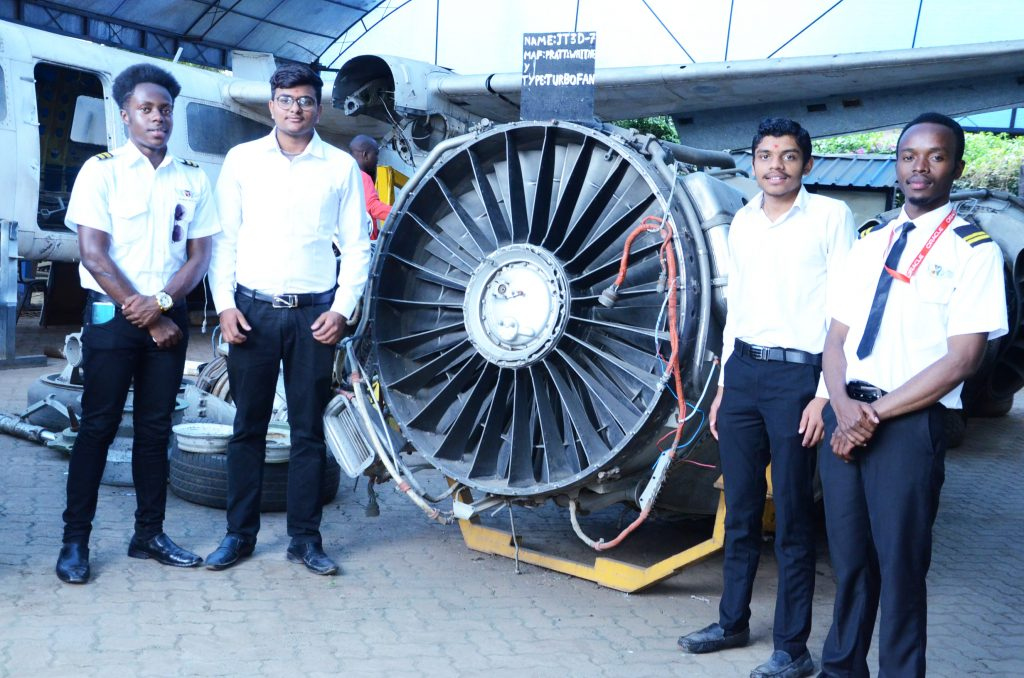 Some of the Engineering students at Skymax Flying School